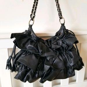 Vintage Adrienne Vittadini Leather Ruffle Bag